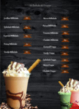 Tiramisu meny drikker, frappe, milkshake