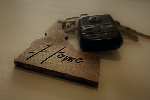 Wooden State Keychain with Home Engraving