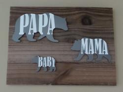 papa mama baby bear wall decor