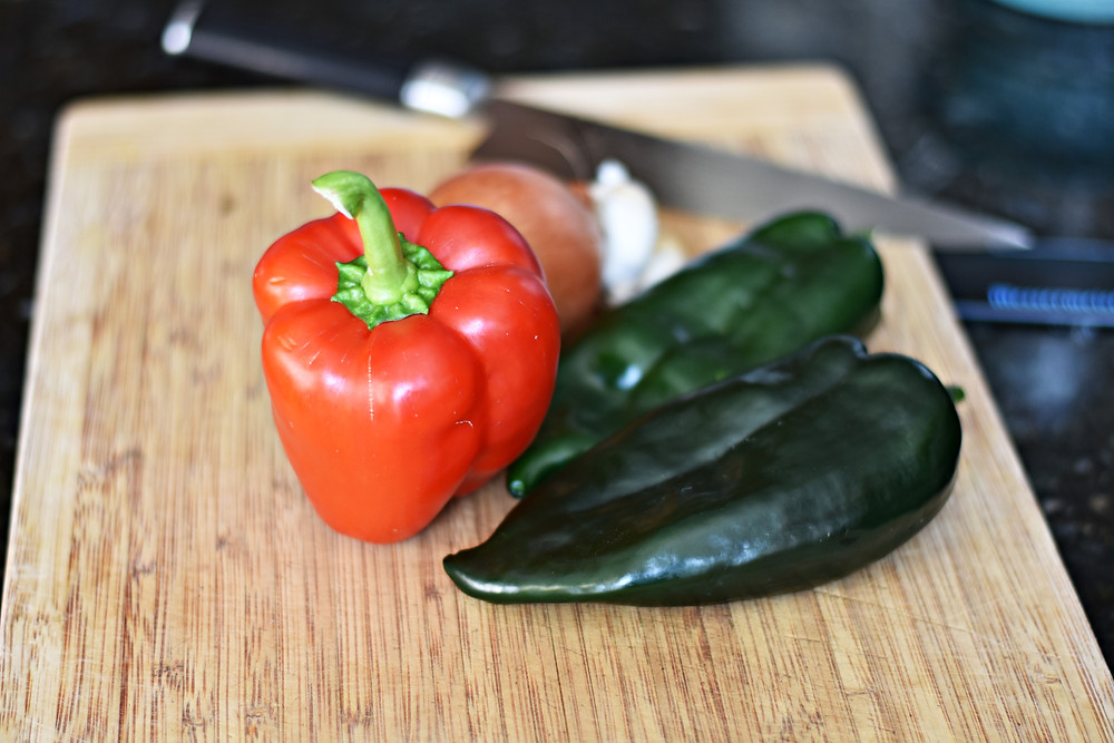 Red pepper and poblano peppers