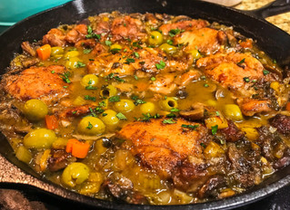 Whole 30 One Pot Moroccan Chicken with Apricots and Olives