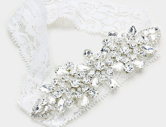 W2005 -Floral Crystal Pave Lace Stretch Wedding Garter