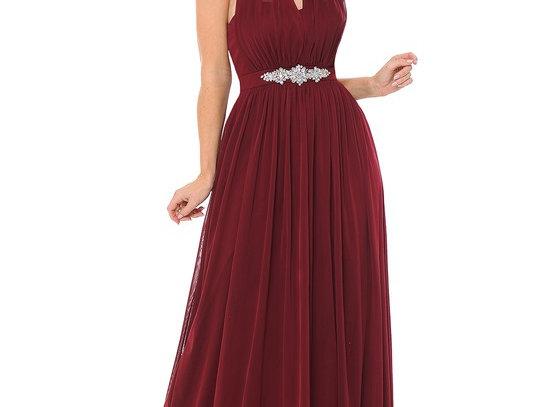 5201 -Halter Ruched Embellished Kakao Long Formal Dress