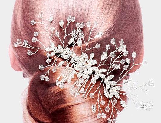 CSH23-40819 -Rhinestone Bicone Bead Leaf Cluster Vine Hair Comb