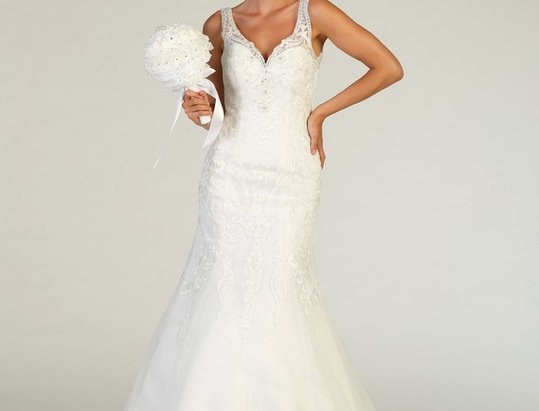 RQ7798-Laced Trumpet Gown (Ready to Ship)
