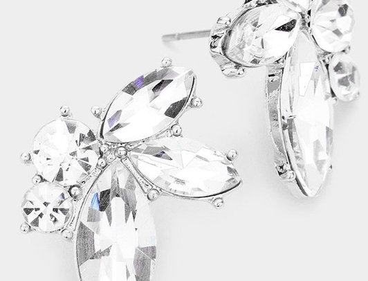 SE063 -Round Marquise Stone Evening Stud Earrings