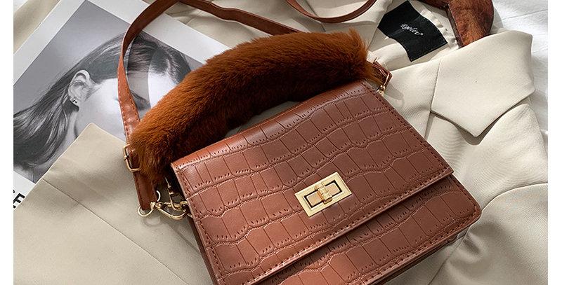 PV009-Plaid Square Metal Buckle Straddle Handbag