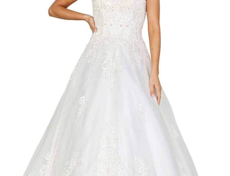 DW0117-A-Line V-Neck Sleeveless Bridal Dress (Ready to Ship)