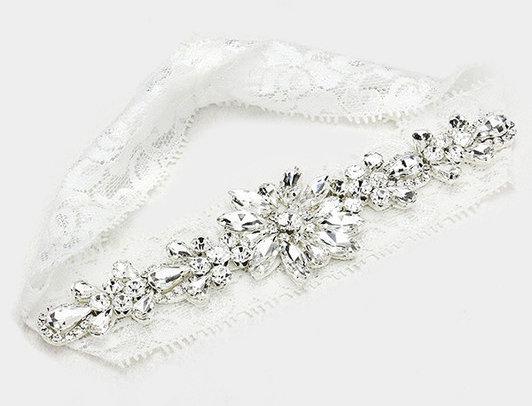 W2004 -Crystal Flower Lace Stretch Wedding Garter