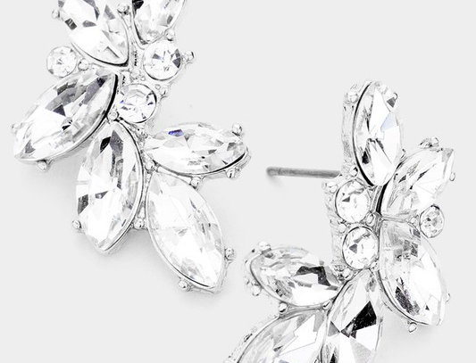 SE073 -Marquise Stone Cluster Evening Stud Earrings