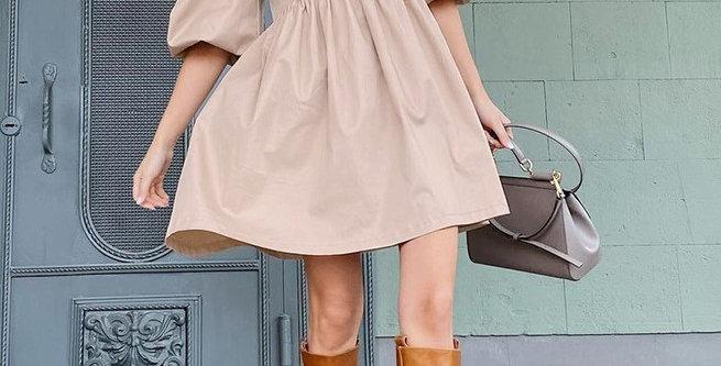 PV122-Bubble Sleeve Loose Dress