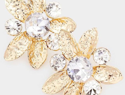 FE10010 -Round Stone Embellished Metal Flower Earrings