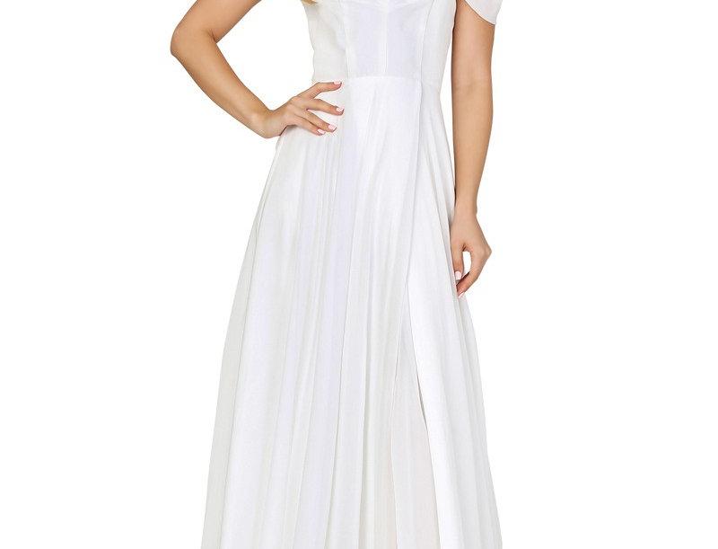 DW0155-A-Line Open Shoulder Sweep Train Bridal Dress