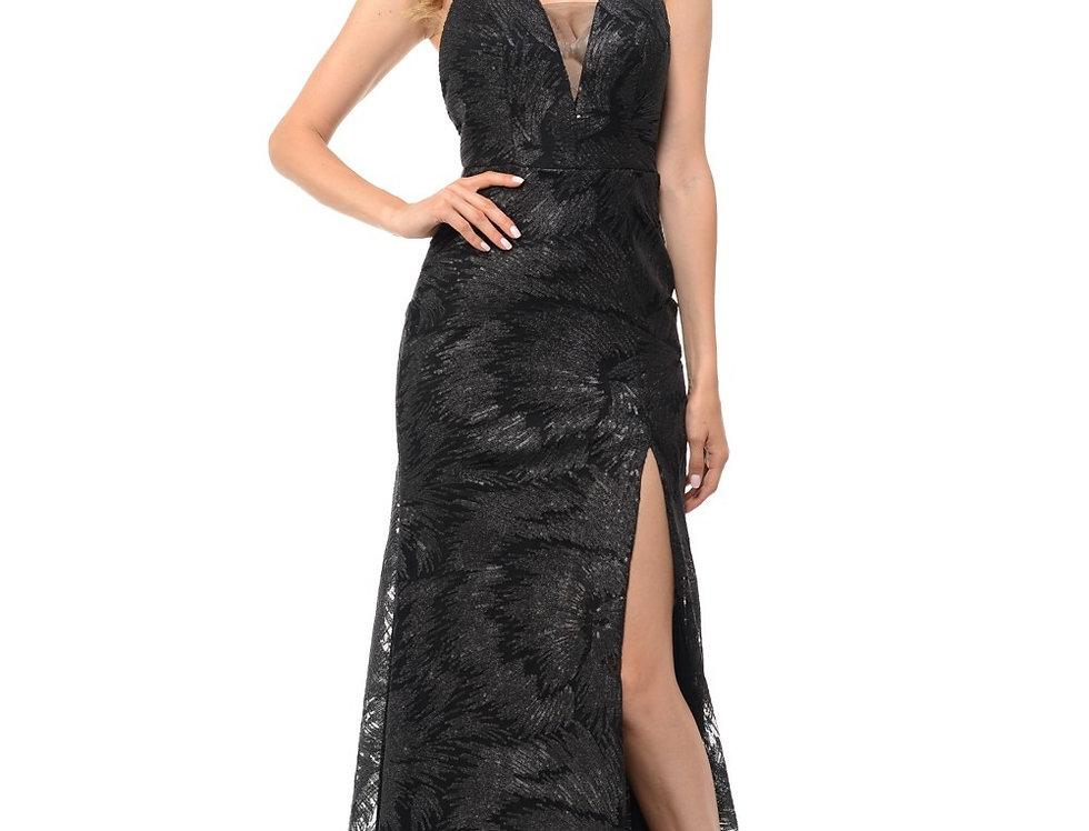 5186-Sheer Sequined Halter Wrap Thigh Slit Long Dress