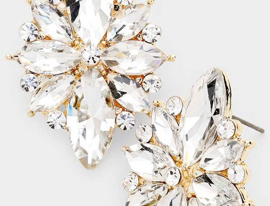 EVE1362 -Marquise Crystal Floral Evening Earrings