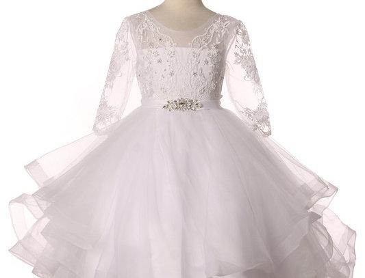 5075 -Elegant 3/4 sleeve tulle dress