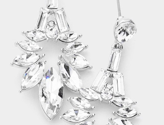 EVE061 -Marquise Stone Cluster Dangle Evening Earrings