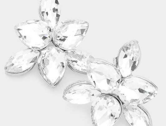 EVE1389 -Marquise Teardrop Stone Evening Stud Earrings