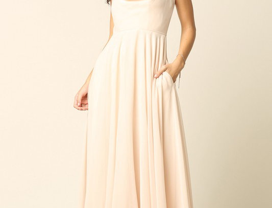 283-357-Sleeveless Cowl Neck Chiffon Gown  (Ready to ship)