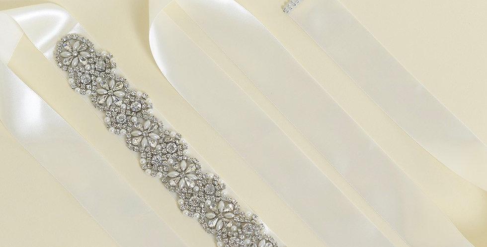 PV2076-Crystal & Pearl Bridal Belt