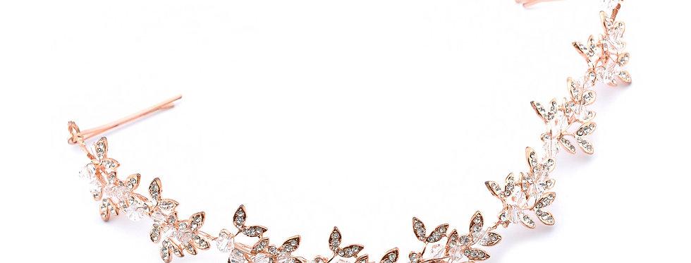 903-Hair Band Crystal Rhinestone Tiara Rose Gold Plated