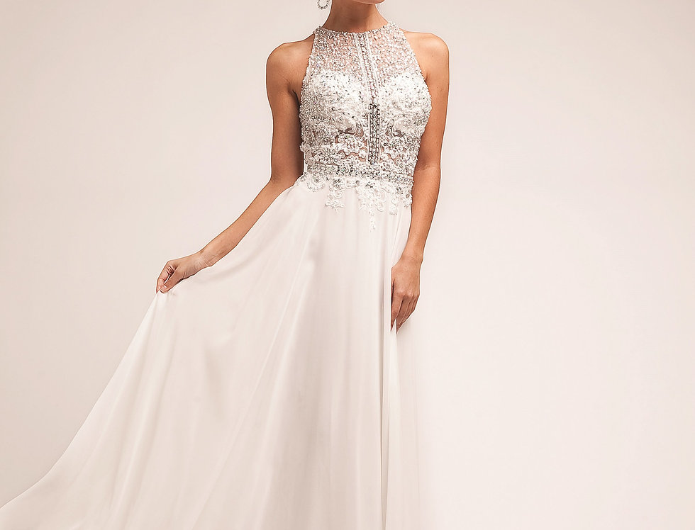 3198-Beaded Lace Bodice Chiffon Empire