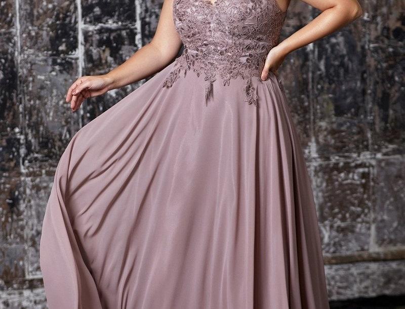 9177-Beaded Lace Bodice Chiffon A - Line Dress(Ready to Ship)