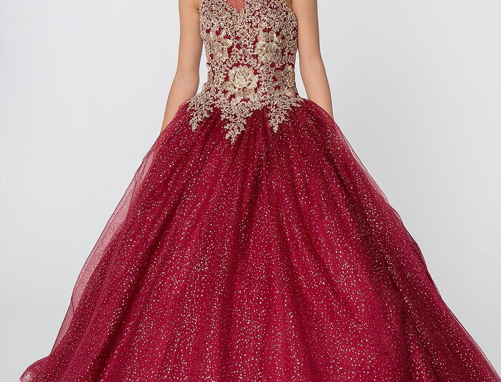 2805-Embroidery and Jewel Embellished Halter Neck Glitter Mesh Ball Gown