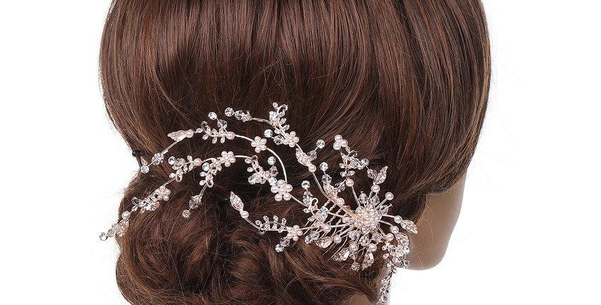 589-Rose  Gold plating Pearl  Hair Comb