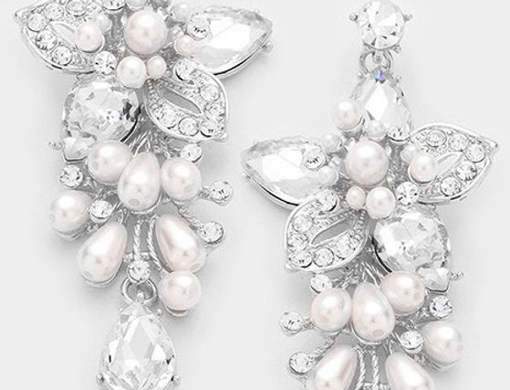 EVE5854 -Floral Glass Crystal with Pearl Evening Earrings