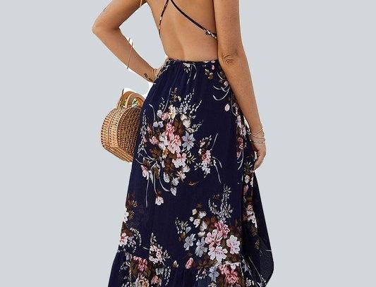 447-V Neck Floral Printed Ruffle Dresses