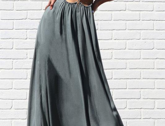 3186-RUCHED NECKLINE MAXI DRESS