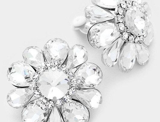CE4975 -Glass crystal flower clip on earrings