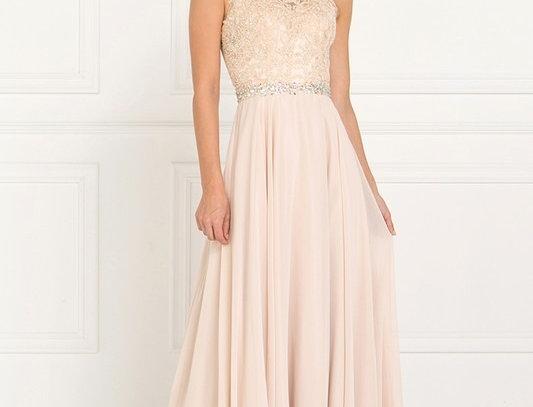 Jewel Embellished Lace Top Chiffon Long Dress