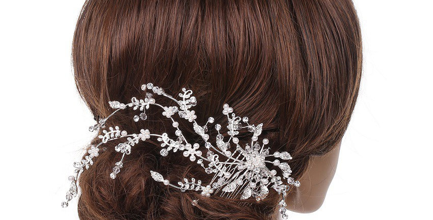 69589-Wedding Jewelry Silver Plating Faux Pearl Hair Comb