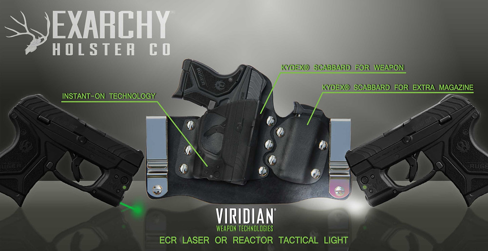 Exarchy Holster Co. GUN+ONE Tuck IWB Ruger LCP II with Viridian R5 ECR and RTL