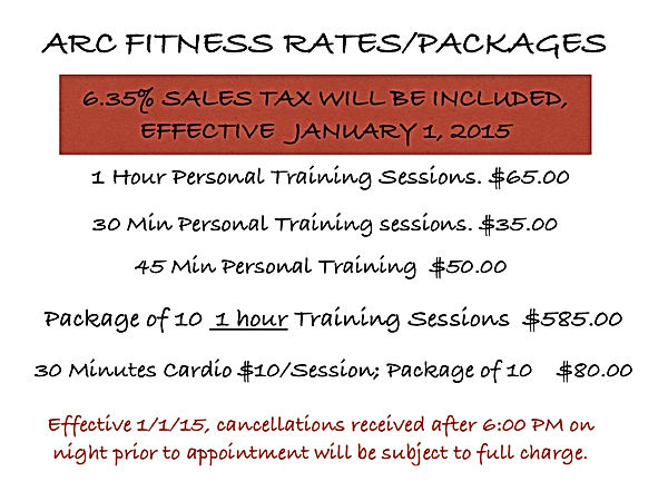 Personal Training Rates Sessions & Packages + Cardio