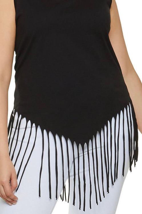 Black Sleeveless Fringe Shirt