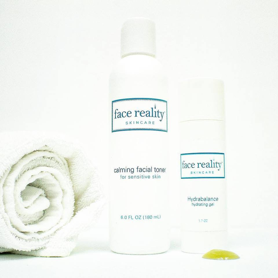 Face Reality's Calming Facial Toner and Hydrabalance contain aloe vera.to sooth your skin.  They are both an integral part of the Face Reality Acne Clearing Program.