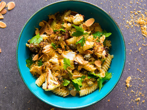 Roast cauliflower fusilli with green garlic, capers, toasted almonds and Parmesan breadcrumbs