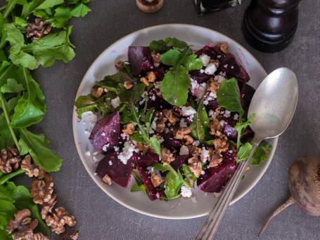 Roast Beetroot Salad with Sheep's Milk Gbejna, Rucola and Walnuts