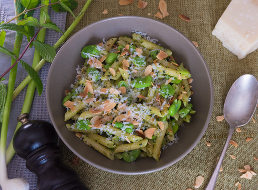 Penne with Mint Pesto, broad Beans and Shaved Almonds