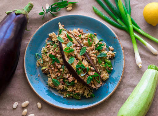Olive Oil Roasted Aubergine with Bulgur Wheat, Zucchini and Sumac Peanuts