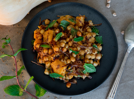 Butternut Squash, Chickpea and Crispy Onion Salad with Tahini Dressing