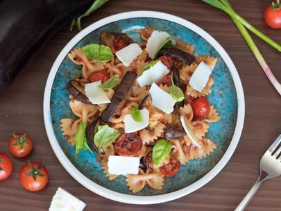 Farfalle Norma with Roast Cherry Tomatoes, Aubergine and Ricotta Salata