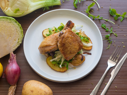 Pan-Roast Chicken Leg, Roast Potatoes and Onions, Cabbage and Rocket Salad