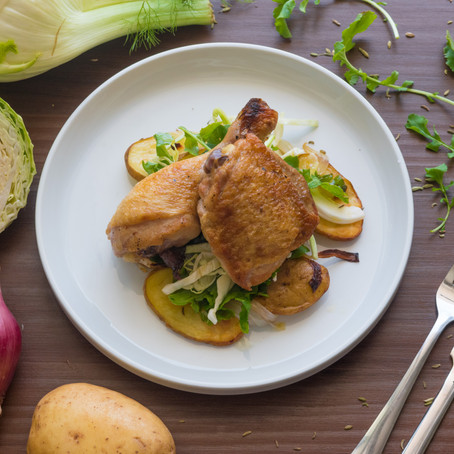 Pan-Roast Chicken Leg, Roast Potatoes and Onions, Cabbage and Rocket Salad