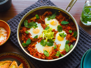 Shakshuka – Eggs poached in a spiced tomato and charred bell pepper stew