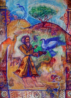 Tagore with the animals