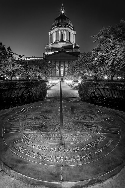 Sundial and Capitol Dome at Night, Olympia, Washington